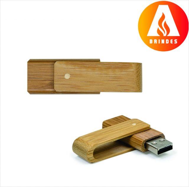 Pen Drive 4GB Giratório Bambu Promocional