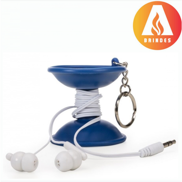 Chaveiro Emborrachado com Fone de Ouvido Personalizado