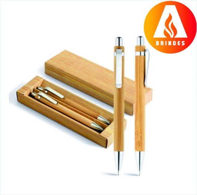 Kit Caneta e Lapiseira Bambu Personalizada