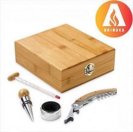 Kit Vinho Bambu para Brindes